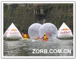 The water ball with redull logo is used for their company activity.
