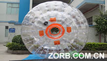 Transparent zorb ball, orange entrance, four handles
